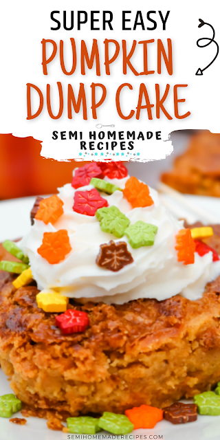 This Easy Pumpkin Dump Cake is one of the easiest fall desserts ever. This cake is a mix and dump type cake, it takes about 1 hour to bake and it taste like an upside down pumpkin pie!