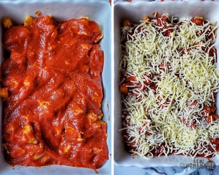 layering CHICKEN PARMESAN STUFFED SHELLS with sauce and cheese