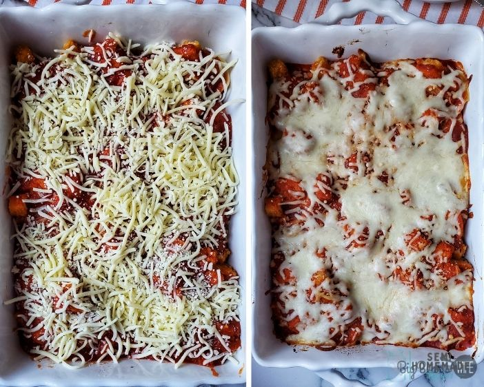 cheese and melted cheese on CHICKEN PARMESAN STUFFED SHELLS