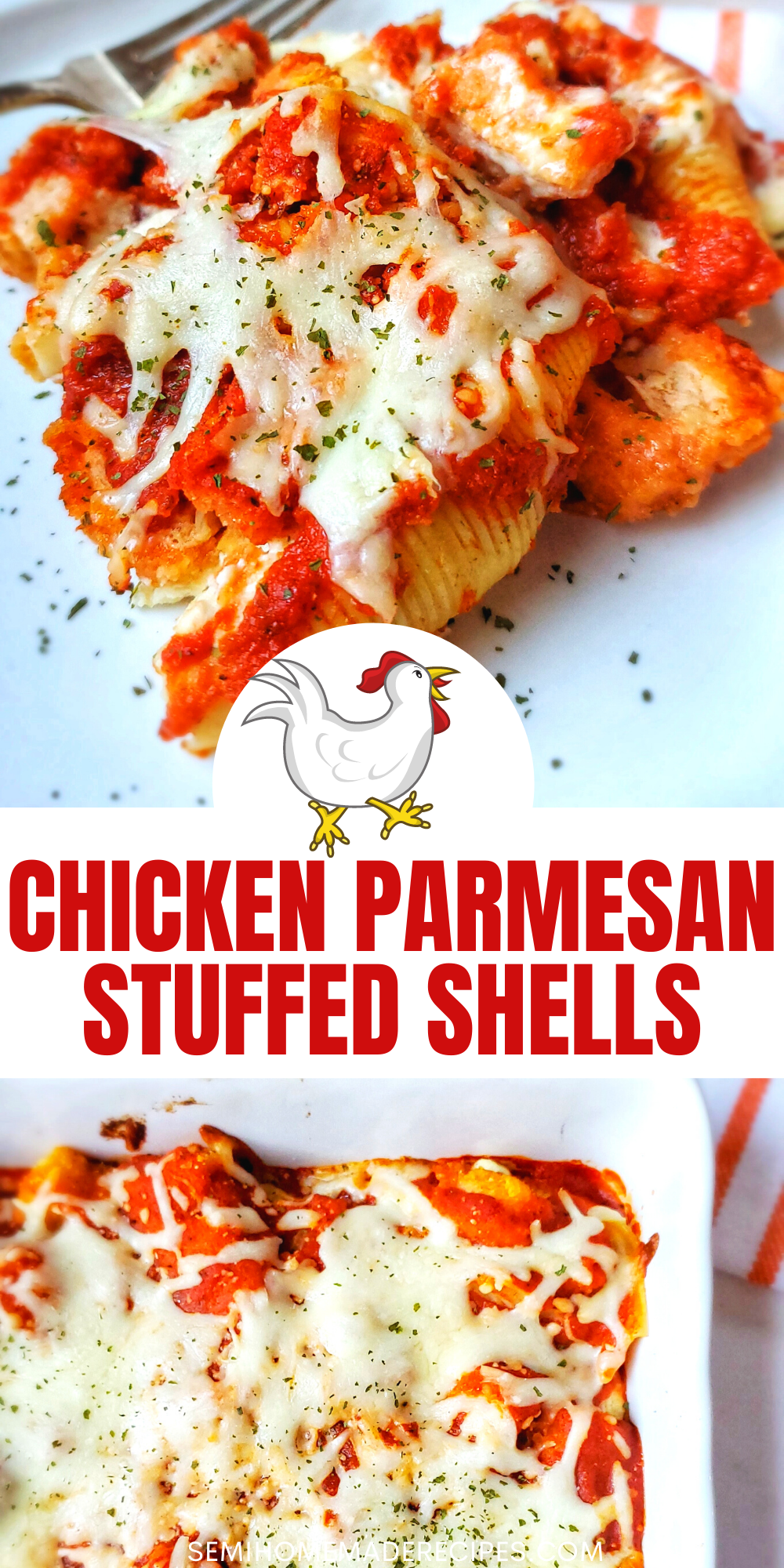 This super easy semi homemade recipe combines tasty Chicken Parmesan and Stuffed Shells to create a perfect Chicken Parmesan Stuffed Shells dinner!
