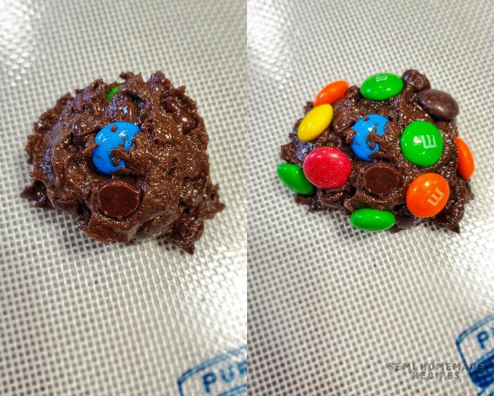 adding cake mix cookies to baking sheet