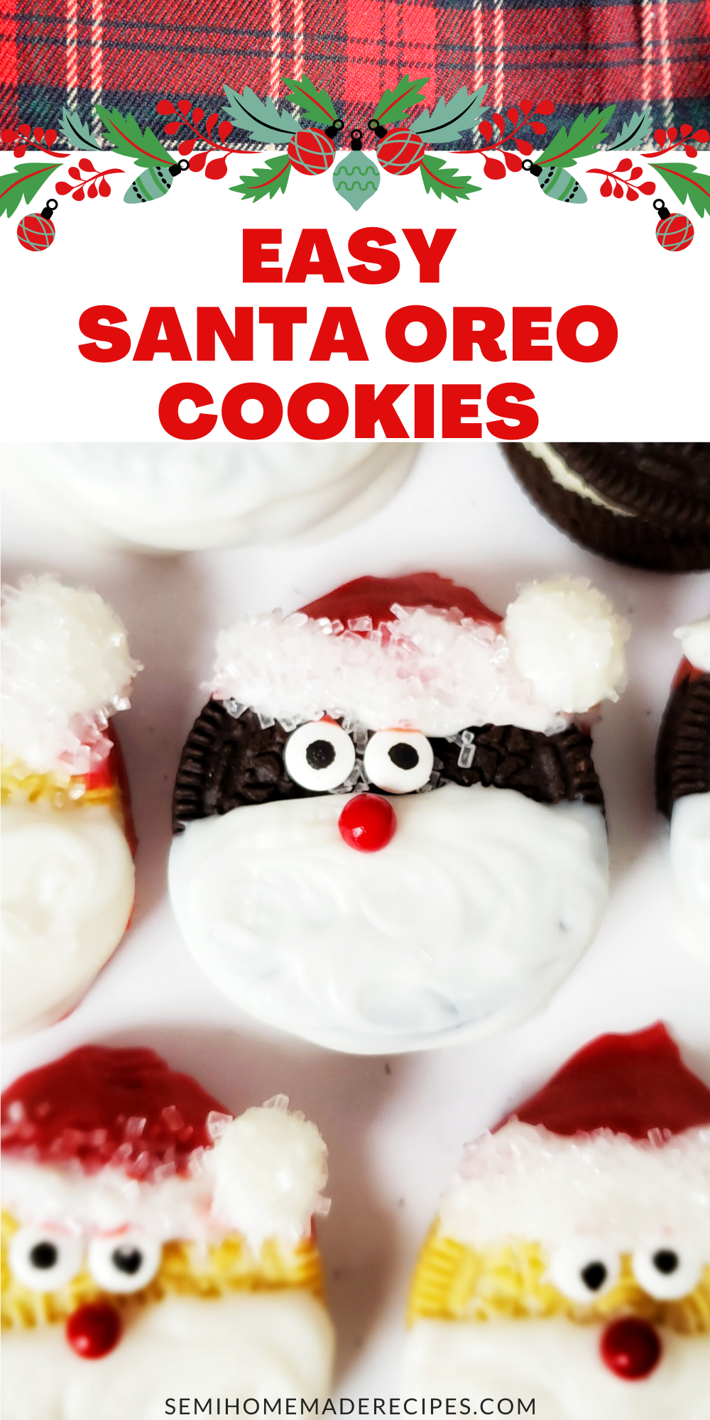 Take your favorite chocolate sandwich cookie and turn it into a sweet old Santa Clause with these directions for Easy Santa Oreo Cookies!