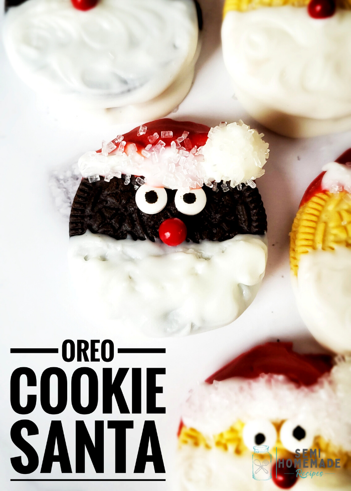 Easy Santa Oreo Cookies - Take your favorite chocolate sandwich cookie and turn it into a sweet old Santa Clause with these directions for Easy Santa Oreo Cookies!