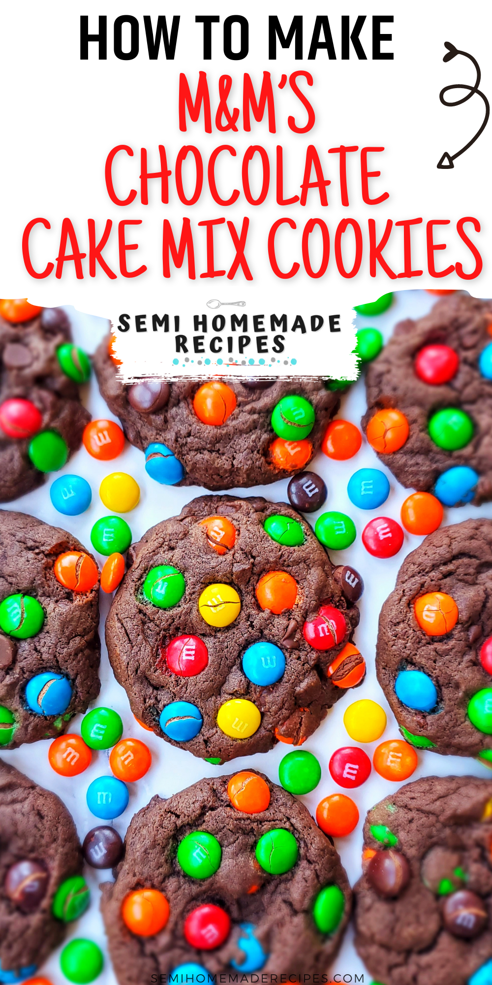 These easy M&M's Chocolate Cake Mix Cookies are made using chocolate cake mix, oil, eggs and colorful chocolate M&M candies!