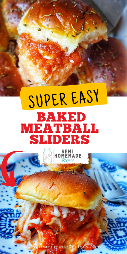 These Super Easy Baked Meatball Sliders are made with store bought meatballs, sauce, cheese and tasty Hawaiian rolls!