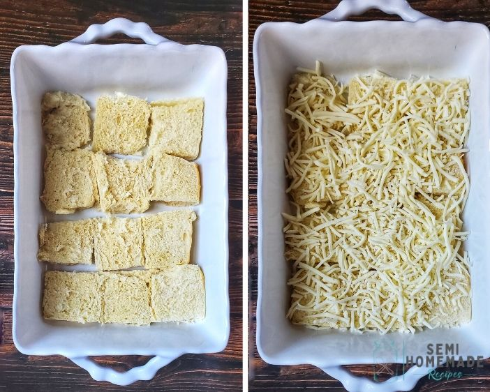 bottom of rolls with shredded cheese