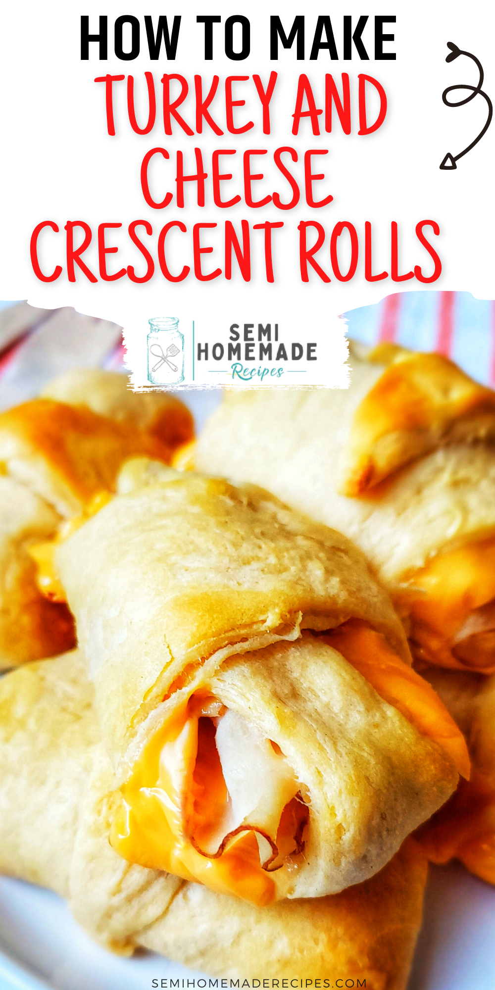 Turkey and Cheese Crescent Rolls - Thin slices of turkey and slices of cheese are rolled into crescent roll dough and baked for the perfect lunch or snack! You can also use shredded cheese for these rolls! I also love using sliced ham, rotisserie chicken, and leftover Thanksgiving turkey for these little sandwiches too!