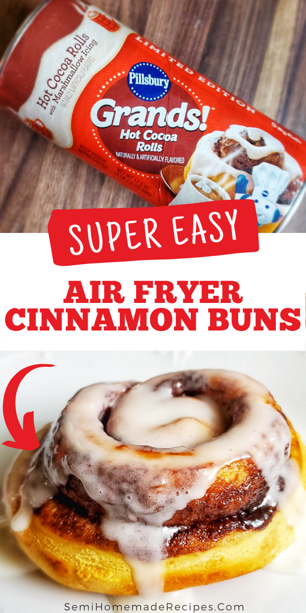 Air Fryer Cinnamon Buns -Use your air fryer for breakfast and make these super easy Air Fryer Cinnamon Buns from canned cinnamon rolls!