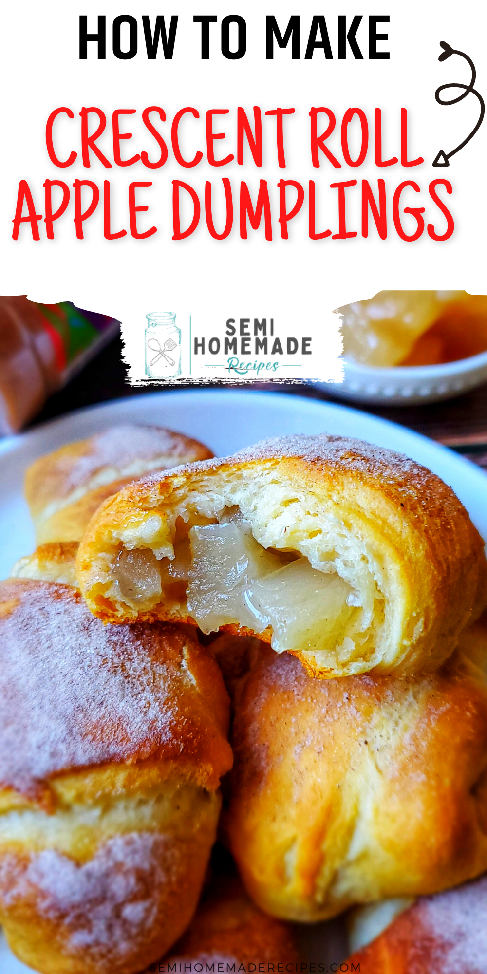 Crescent rolls, apple pie filling and cinnamon sugar comes together to make the sweetest little Crescent Roll Apple Dumplings for dessert!