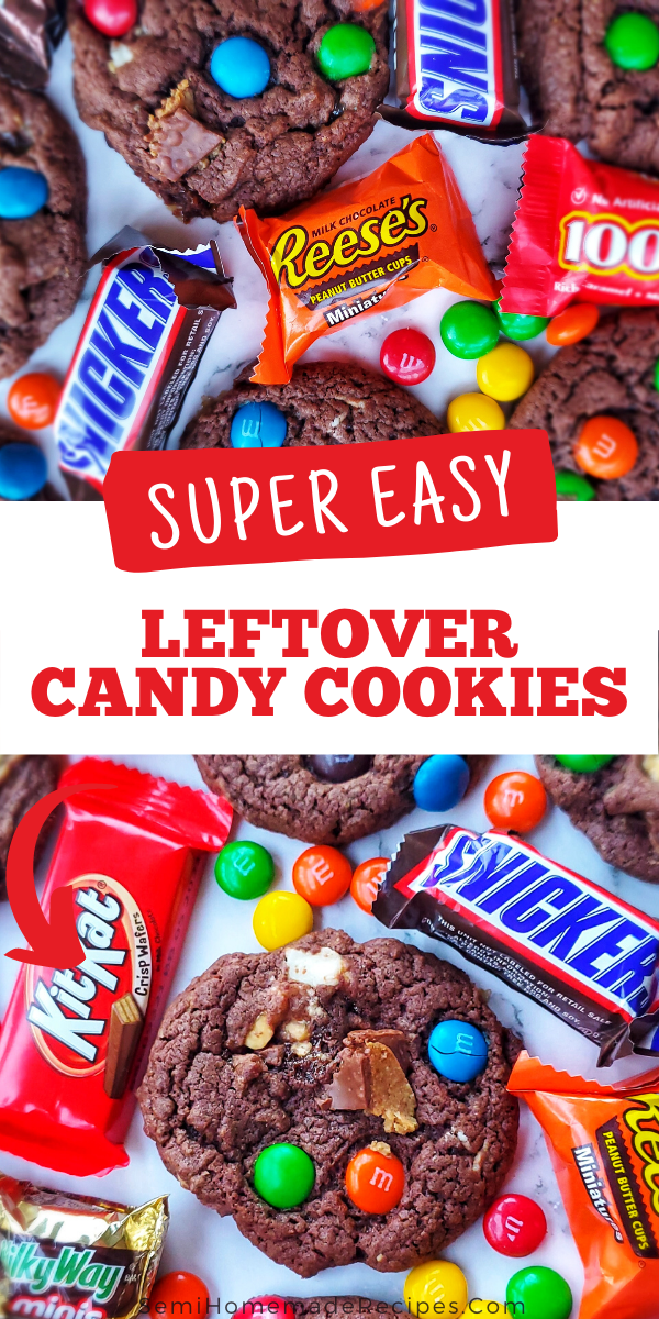 Have leftover candy from the holidays? Make these super easy Leftover Candy Cookies and hand them out to friends and family to get that candy out of your house. Great cookies to use up leftover Halloween Candy, Leftover Christmas Candy or Leftover Easter Candy!