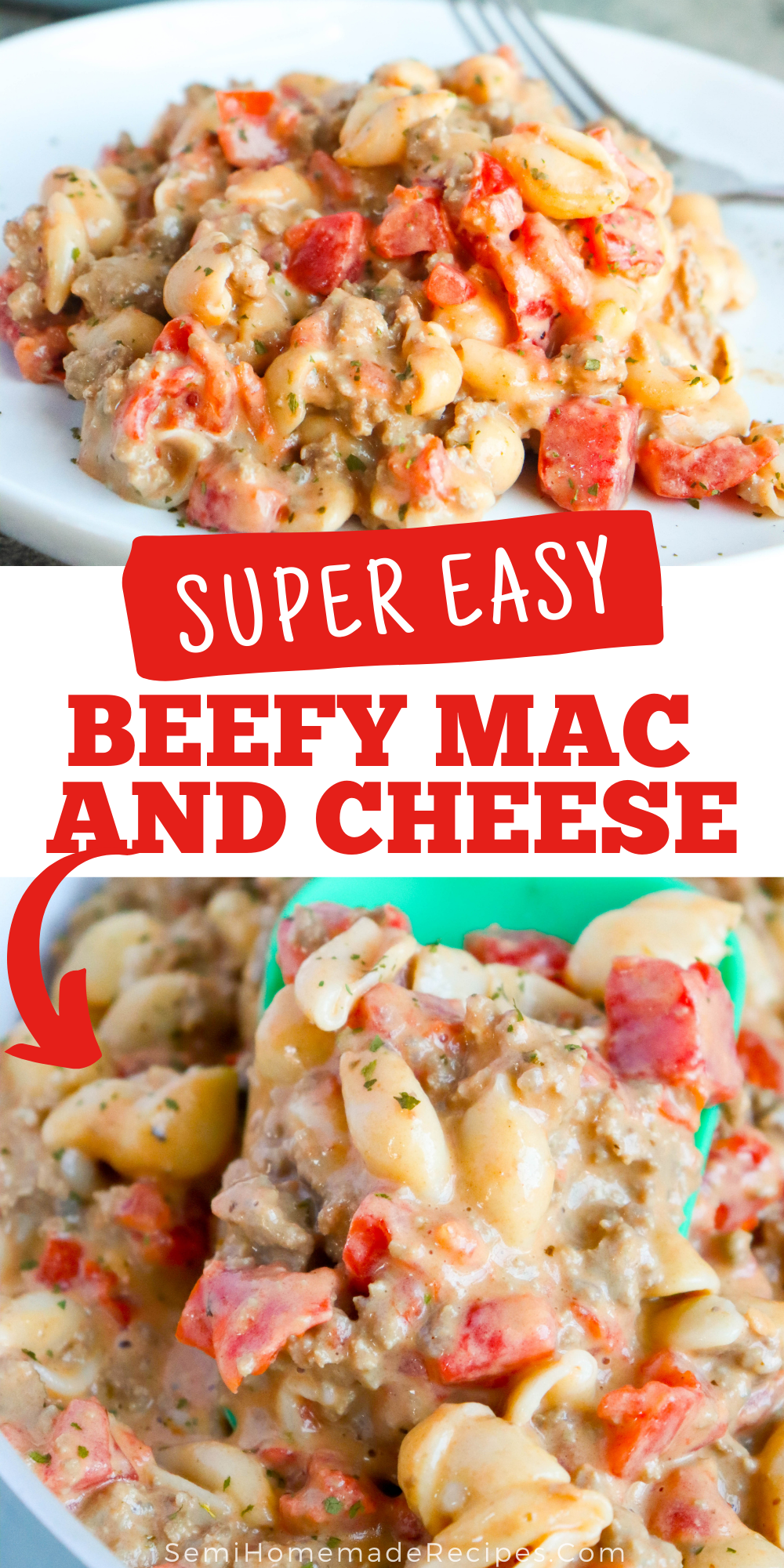 Easy and Cheesy! Ready for a tasty dinner idea? Pantry items with some ground beef creates this Beefy Mac and Cheese in less than 30 minutes!