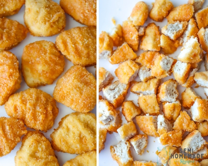 Chicken Nuggets on left and Diced Chicken Nuggets on right