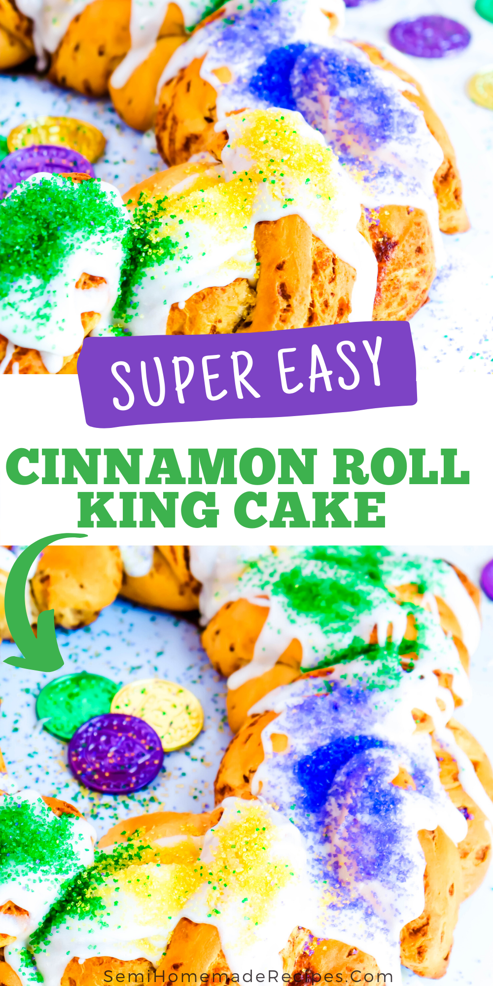 Celebrate Mardi Gras at home with this fun and Easy Cinnamon Roll King Cake! Made with cinnamon rolls, topping with icing and Mardi Gras color themed sugar for easiest king cake ever!