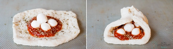 Fresh mozzarella added to sauce and closed to form PIZZA STUFFED BISCUITS (1)