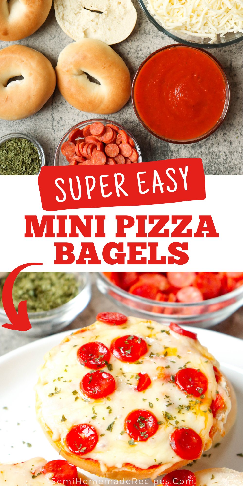 Mini Bagels, pizza sauce and your favorite pizza toppings come together to make these super easy Mini Pizza Bagels! These are perfect for lunch and a kid favorite!