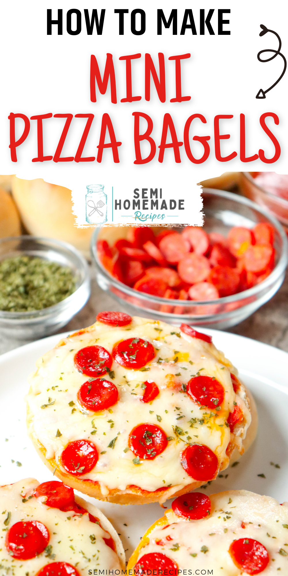 Mini Bagels, Sauce and your favorite pizza toppings come together to make these super easy Mini Pizza Bagels! These are perfect for lunch and a kid favorite!