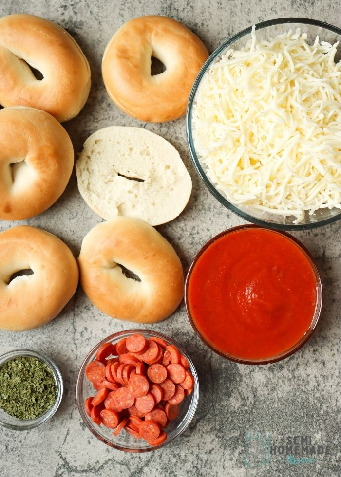 Mini Bagels, mini pepperoni, cheese and sauce