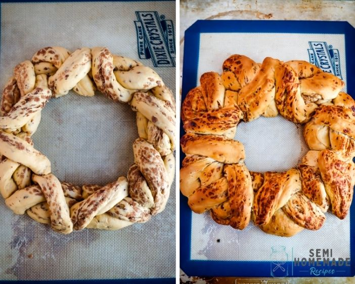 Unbaked and Baked Cinnamon Roll Braid for king cake