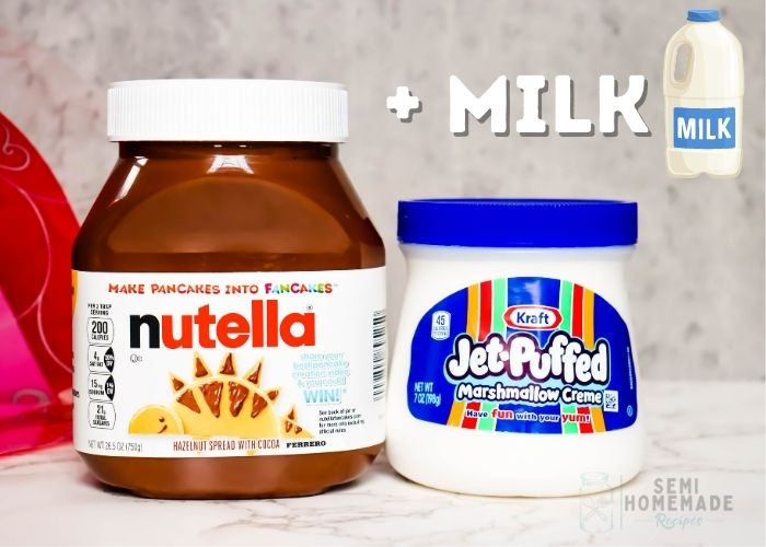 Nutella and Marshmallow Fluff Jars +  milk  clipart