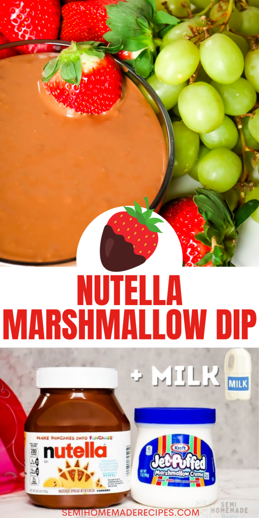 3 ingredients and a bit of whisking is all it takes to whip up this fantastic Nutella Marshmallow Dip! It's the perfect fruit or cookie dip!