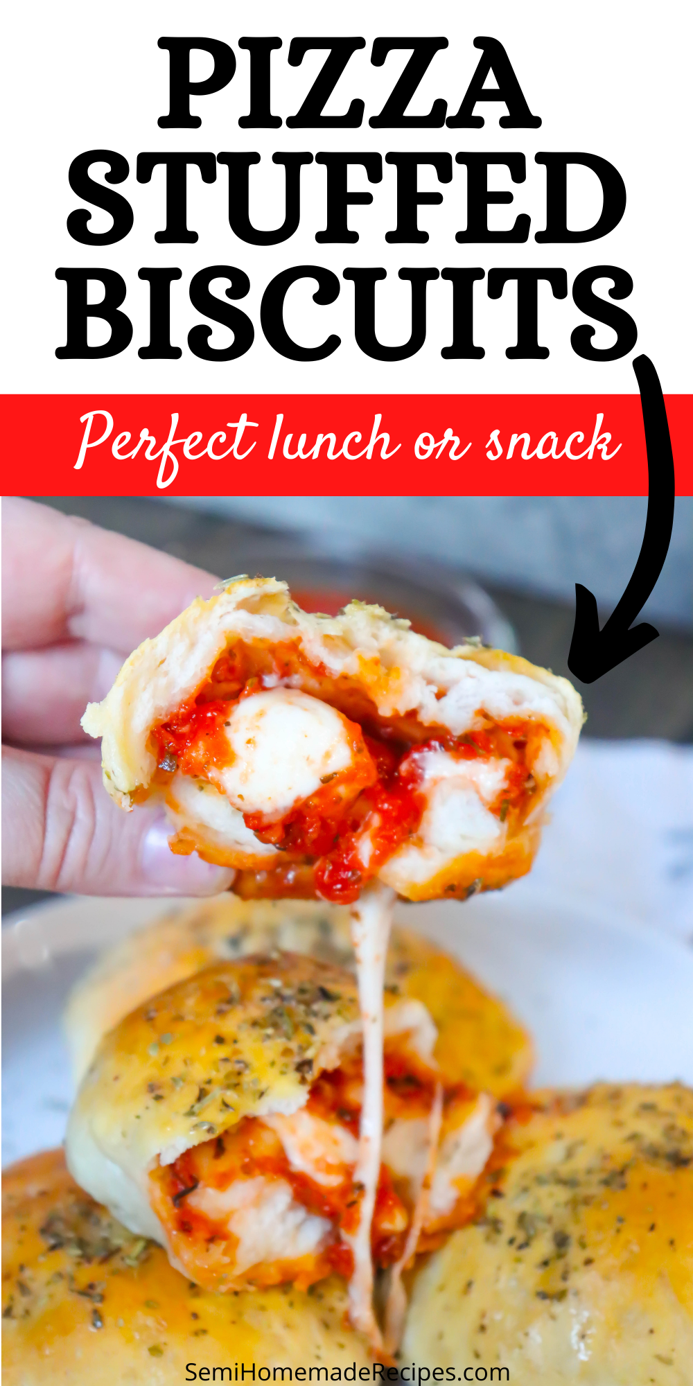 Great for an easy lunch or dinner, these Pizza Stuffed Biscuits are ready in less than 30 minutes! Normallypacked with pizza sauce, fresh mozzarella and Italian seasoning but completely customizable.
