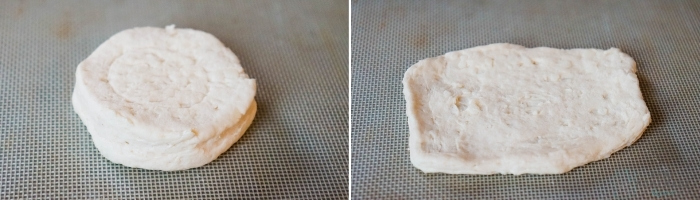 Raw Biscuit and Biscuit dough being flattened and stretched