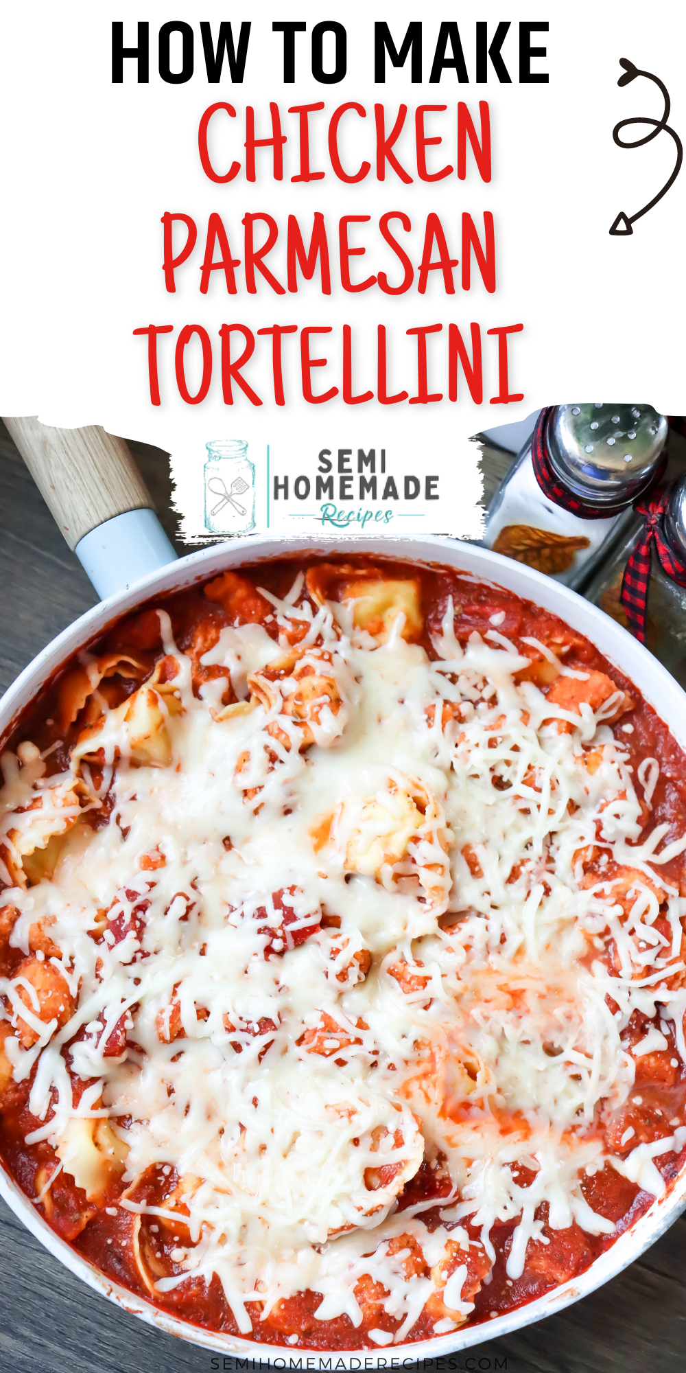 Semi Homemade Chicken Parmesan Tortellini is a super easy meal that's ready in about 30-45 minutes! Breaded Chicken nuggets, pasta sauce and cheese tortellini is absolutely delicious! This can also be made with cheesy tortelloni!