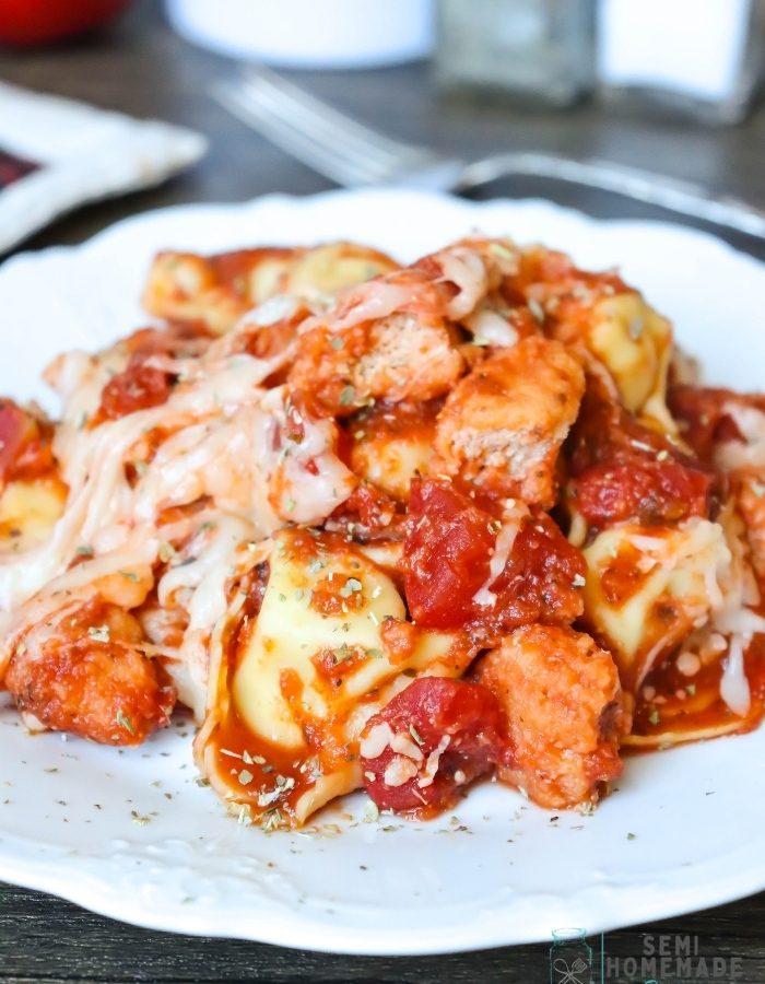 Semi Homemade Chicken Parmesan Tortellini on white plate