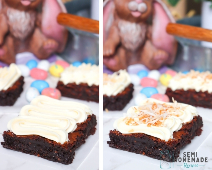 Brownie with Cream Cheese Frosting on left and Brownie with Frosting and toasted coconut on the right