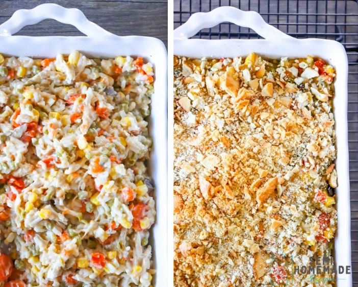 CHICKEN POT PIE RICE CASSEROLE Before baking and after baking