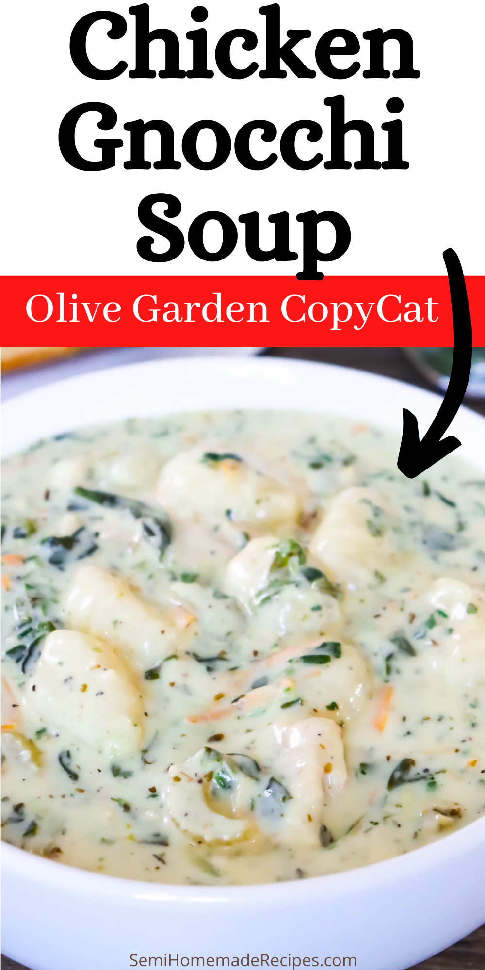 Love the Chicken Gnocchi Soup from Olive Garden? If so, you're going to fall head over heals for this Olive Garden Copycat recipe! This soup is Better Than Olive Garden Chicken Gnocchi Soup and it's full of flavor, chicken and gnocchi!