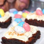 Frosted Bird Nest Easter Brownies with Robin Eggs on top