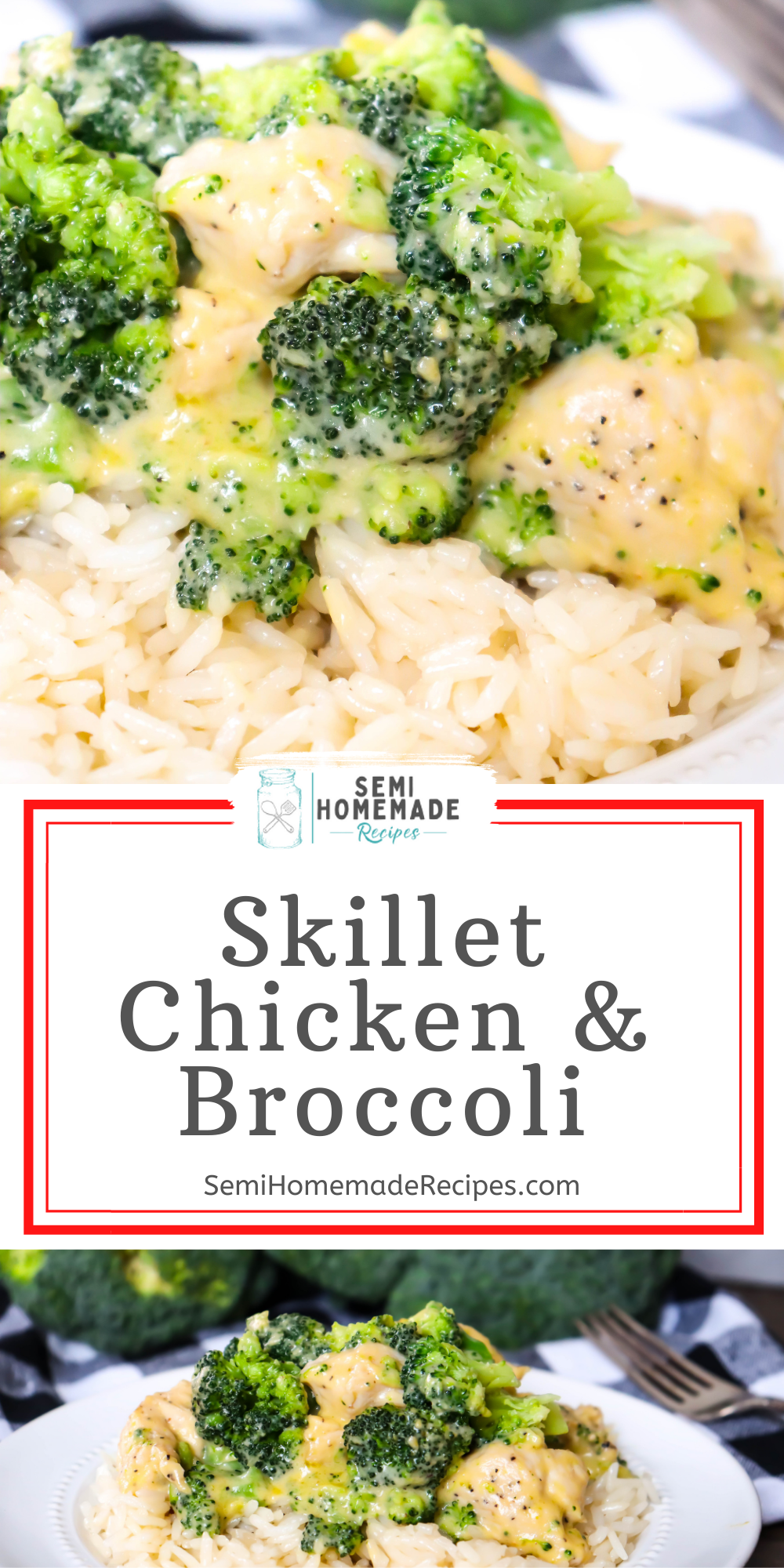 Chicken, Cheese, broccoli and about 30 minutes make up this vintage skillet recipes that's great for an easy and quick dinner. This skillet meal can be served over rice or pasta or with a side dish for a complete meal!