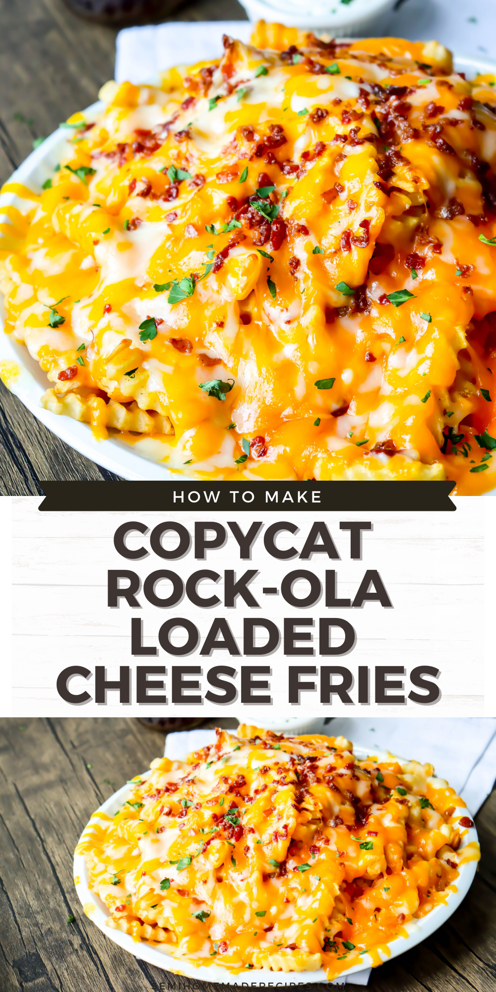 These CopyCat Rock-ola Loaded Cheese Fries are easy to make and you're going to love them! Crinkle fries smothered in grated cheddar and monterey jack cheese, topped with bacon! Perfect with a side of ranch!
