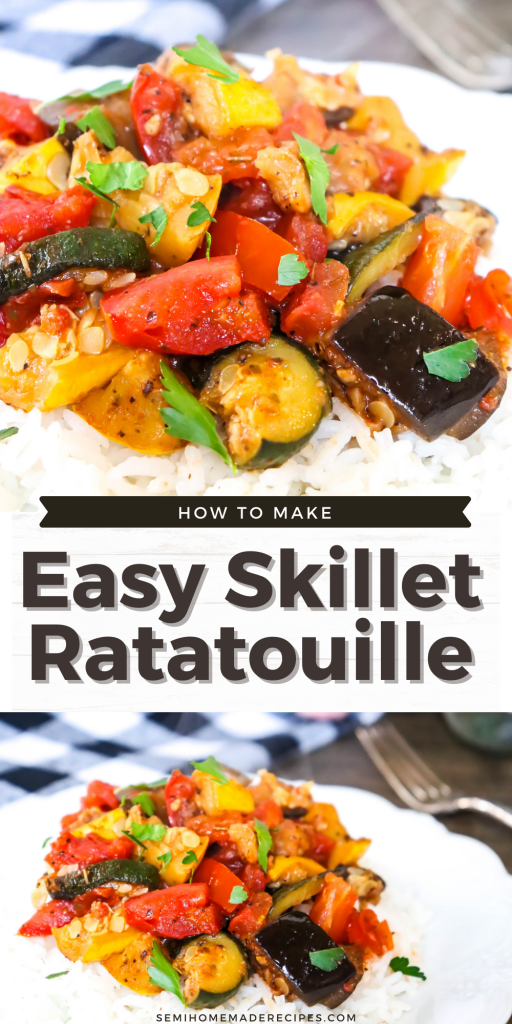 This Easy Skillet Ratatouille is my simple version of the famous French stewed vegetable dish of Ratatouille. This dish is made up of cooked summer yellow squash, zucchini, tomatoes and seasonings. A great recipe for using up those summer vegetables.