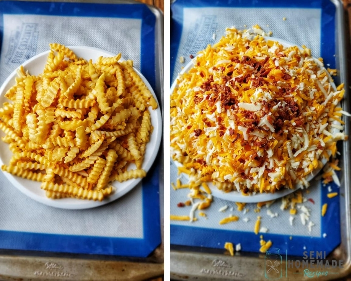 Loading up COPYCAT ROCK-OLA LOADED CHEESE FRIES with cheese and bacon