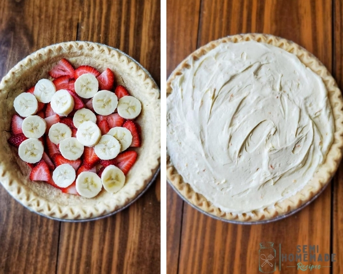Pie crust with sliced strawberries and sliced bananas on left and pie crust with banana pudding filling on right