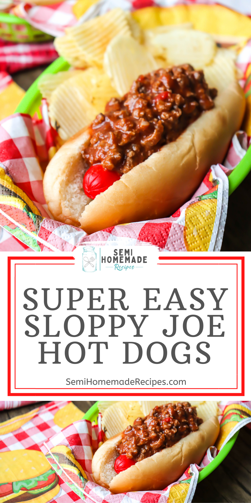 Combine Sloppy Joe Sandwiches and Hot Dogs and make these Sloppy Joe Hot Dogs for a super easy dinner this week!