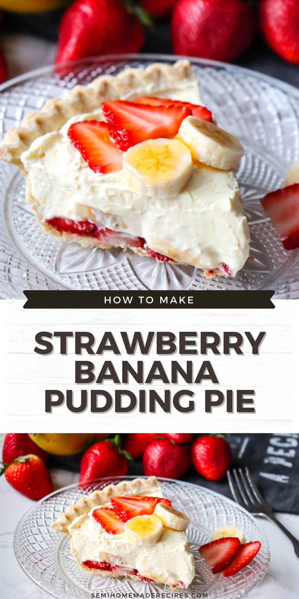 This Vintage Strawberry Banana Pudding Pie recipe is a creamy banana pudding pie with sliced strawberries and sliced banana on the bottom and top of the pie! Plus the top fruit has melted apple jelly on it!!!