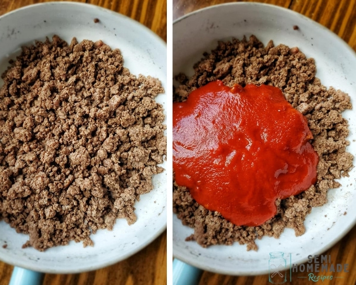 adding sloppy joe mix to ground beef