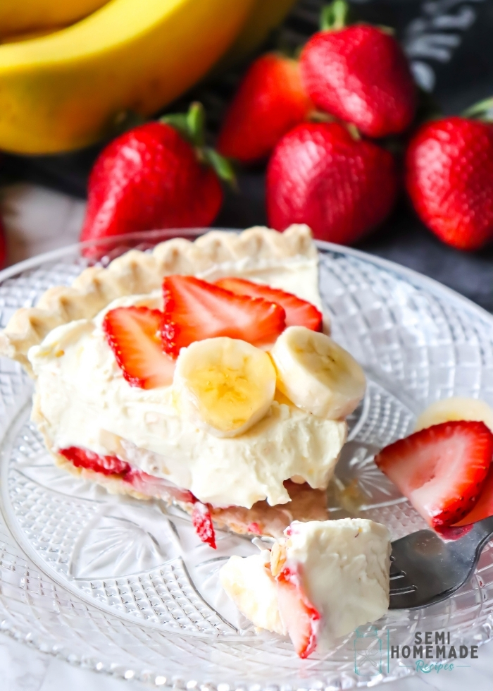 bite of a Slice of STRAWBERRY BANANA PUDDING PIE