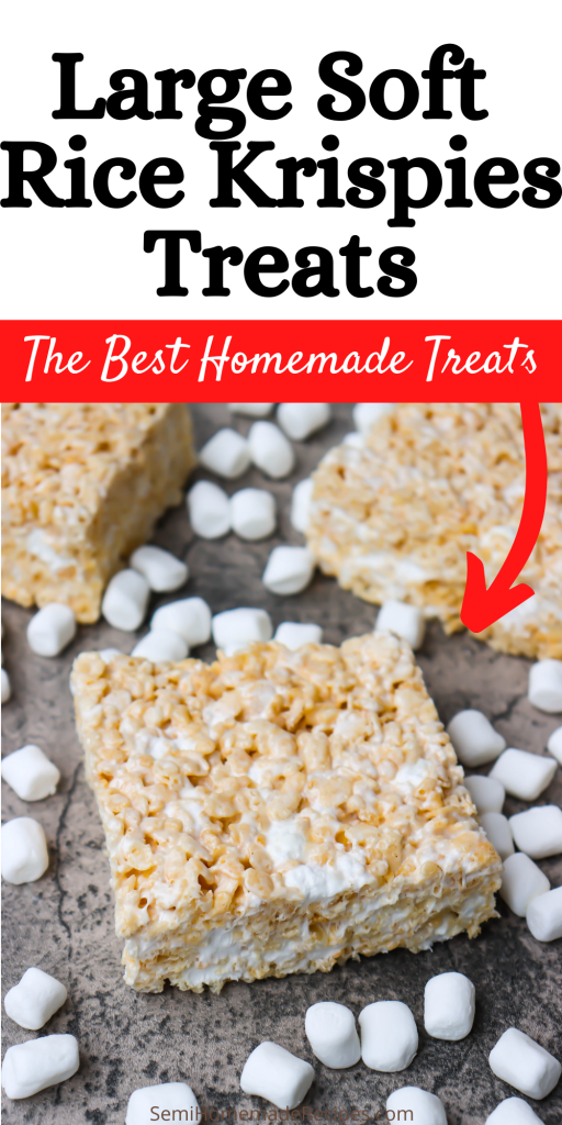 These Large Soft Rice Krispies Treats are absolutely perfect and so easy to make! These homemade Rice Krispies Treats are super soft and full of extra marshmallows.
