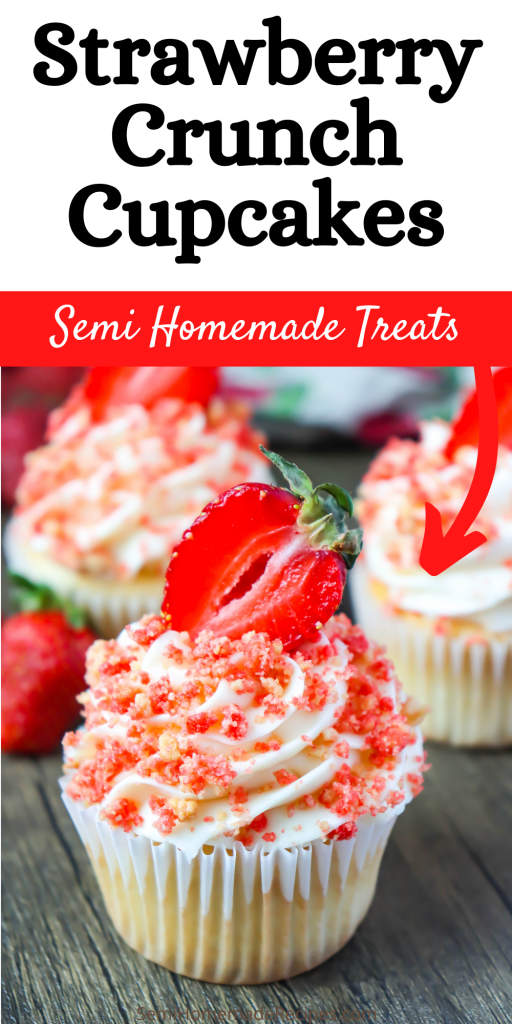 These Strawberry Crunch Cupcakes remind me of those amazing Strawberry Crunch Cupcakes popsicles that we use to get from the ice cream truck as kids!