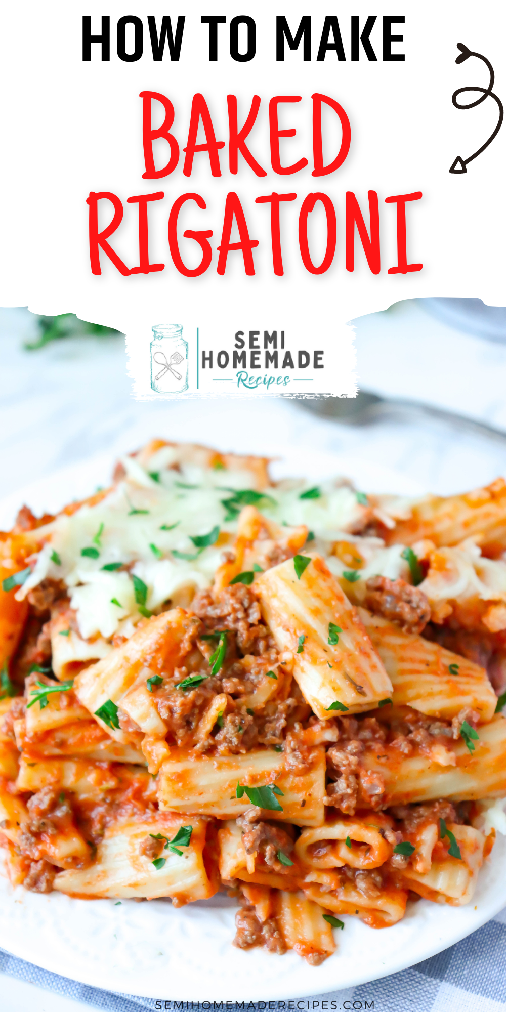 Baked Rigatoni is a rigatoni baked pasta casserole that is mixed with a wonderful meat sauce and topped with shredded mozzarella cheese.