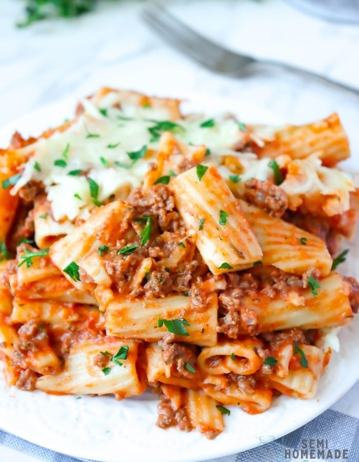 BAKED RIGATONI serving on white plate (2)