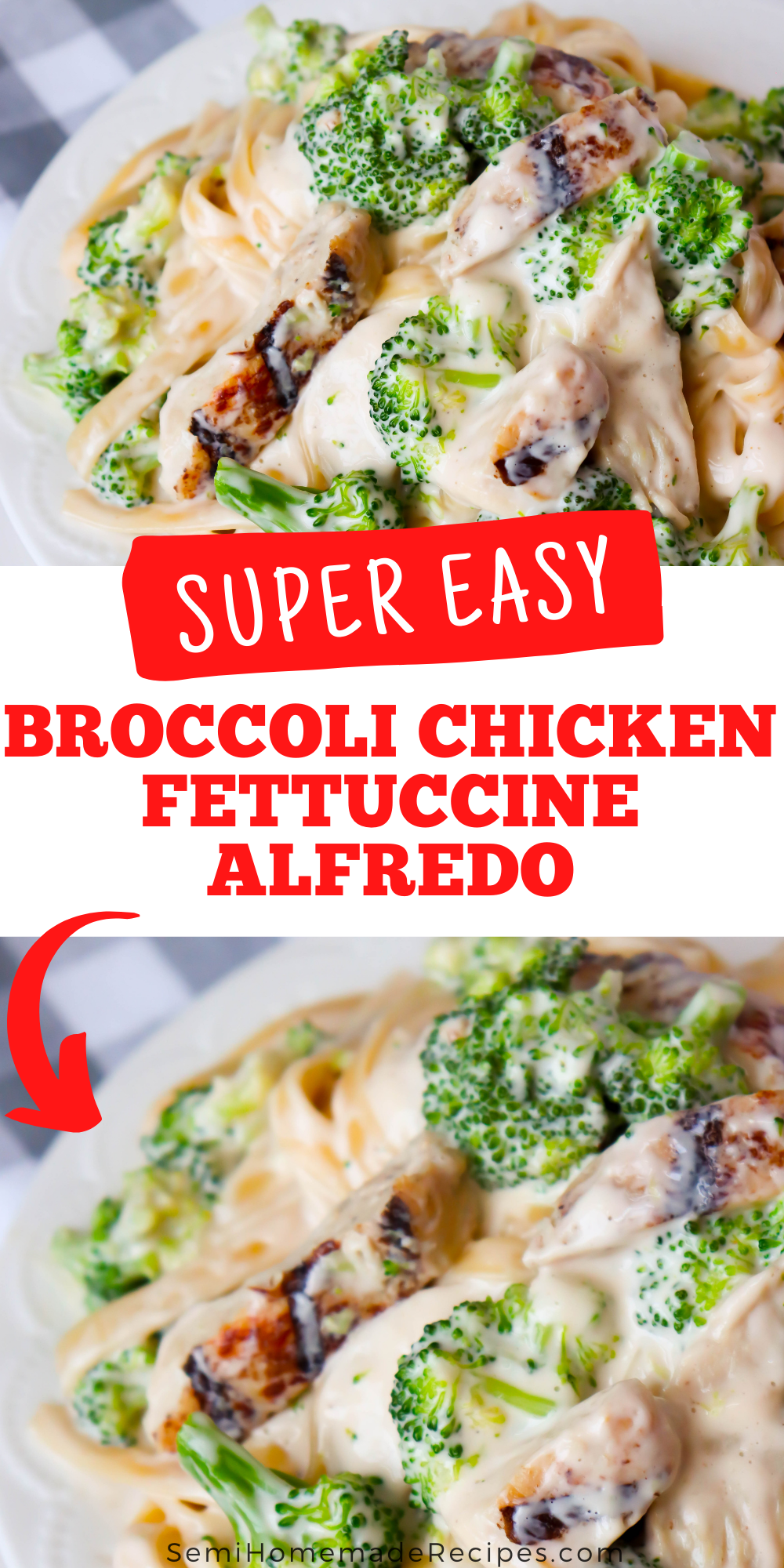Ready for a great semi homemade dinner idea? This super easy Broccoli Chicken Fettuccine Alfredo recipe uses your favorite jarred alfredo sauce, frozen broccoli florets, chicken and fettuccini pasta to create a super tasty and fast meal!