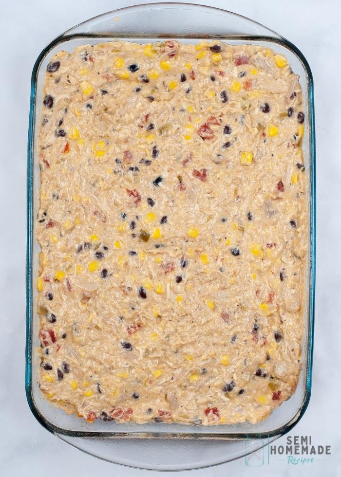 Dorito Casserole mixture in casserole dish