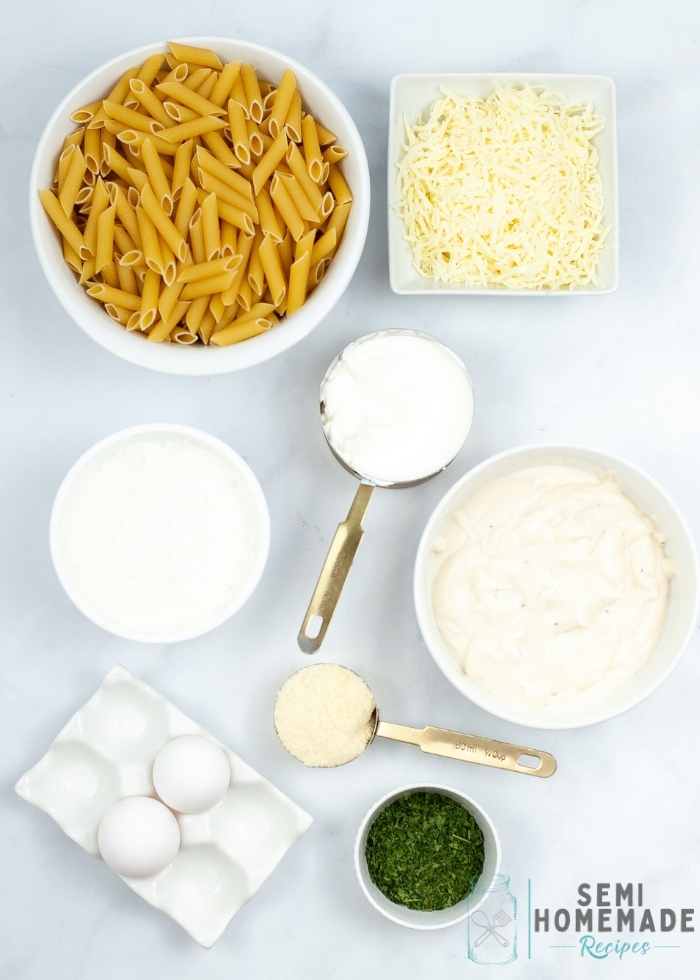Ingredients for Three Cheese Pasta Bake