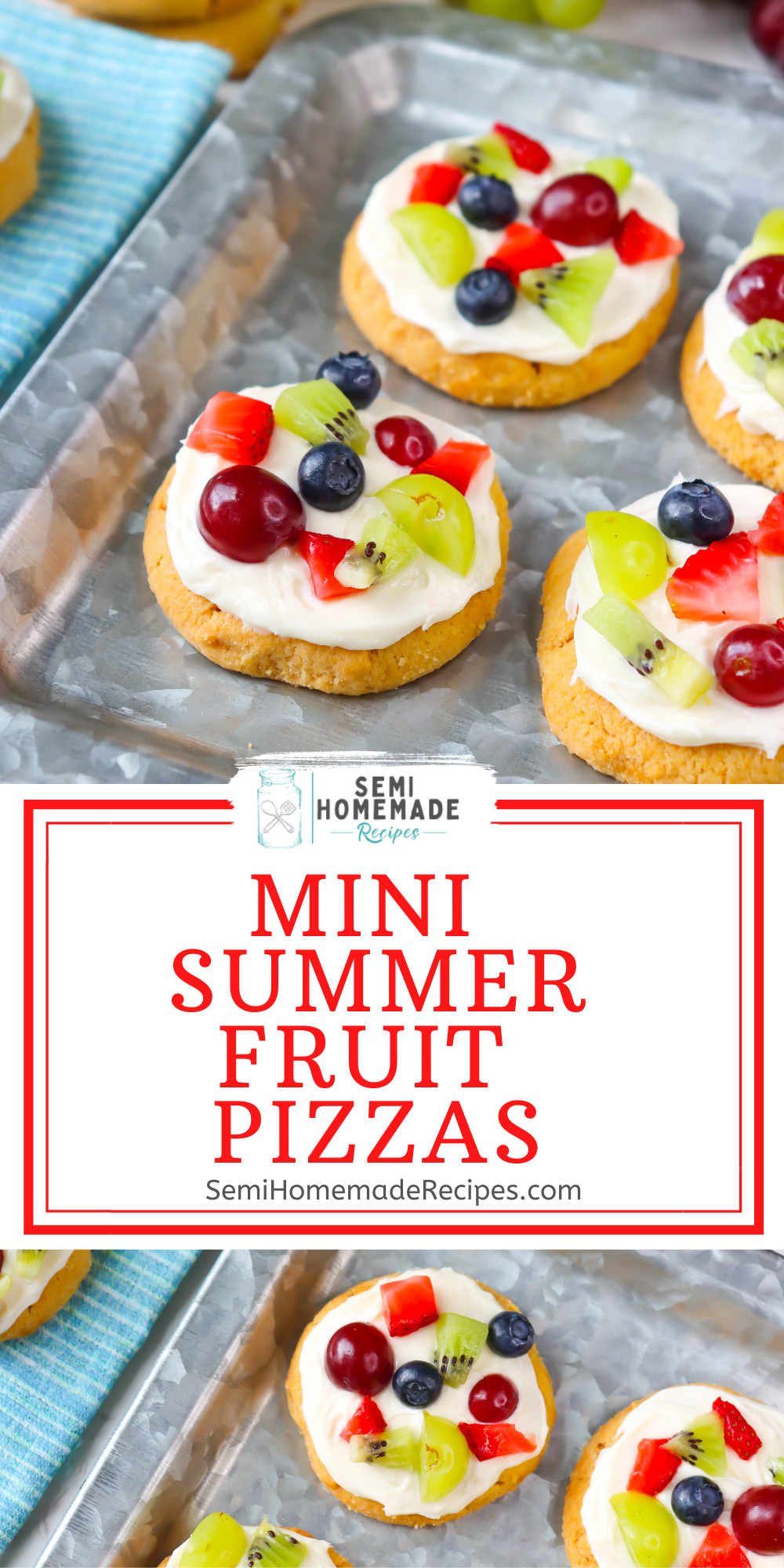 These sweet little mini fruit pizzas are the perfect semi homemade dessert for this summer! Made with sugar cookies, frosting and fresh summer fruit!