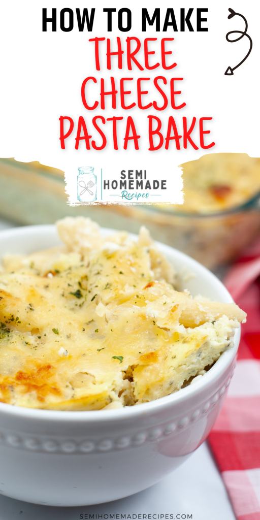 Three Cheese Pasta Bake is make with Mozzarella cheese Parmesan cheese and cottage cheese! Mixed together with ziti pasta and baked for about 30 minutes makes for a great dinner!!